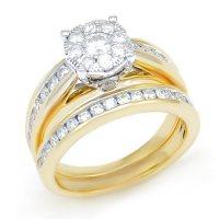 1.29 CT. T.W. Diamond Composite Wedding Ring Set in 14K Yellow Gold I/I1