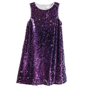 Lavender Girls' Flip Sequin Dress