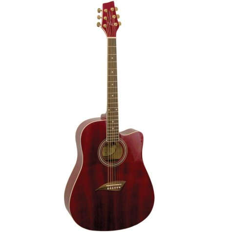 Kona Dreadnought Acoustic Spruce Top Guitar with High  Gloss Transparent Red Finish