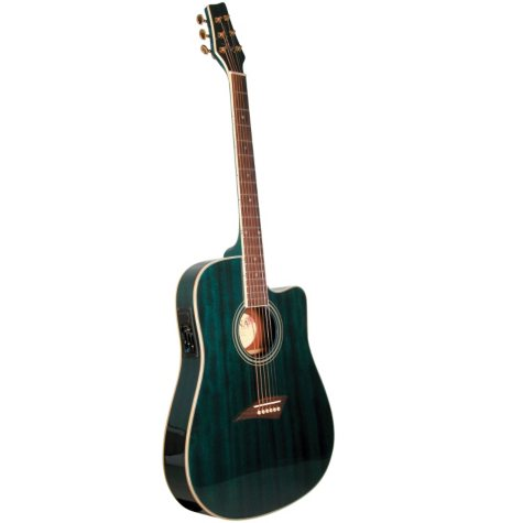 Kona Thin Body Acoustic/Electric Guitar with High  Gloss Transparent Blue Finish