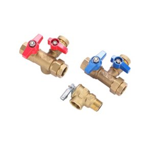 """3/4"""" Brass Tankless Water Heater Service Valve Kit with Pressure Relief Valve"""