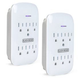 Black + Decker Surge Protector Wall Mount with 6 Grounded Outlets, 2-Pack