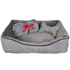 "La Ti Paw 25"" x 19"" Pet Bed with Plush Bone Toy and Throw Blanket Gift Set (Choose Linen or Chenille)"