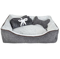"La Ti Paw 25"" x 19"" Pet Bed with Plush Bone Toy and Throw Blanket Gift Set, Dark Gray Chenille"