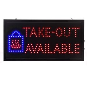 Alpine Industries 19 in. x 10 in. LED Rectangular Take-Out Available Sign with Two Display Modes