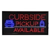 Alpine Industries 19 in. x 10 in. LED Rectangular Curbside Pickup Available Sign with Two Display Modes