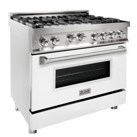"""ZLINE 36"""" 4.6 cu. ft. Range with Gas Stove and Gas Oven in Stainless Steel and White Matte Door (RG-WM-36)"""