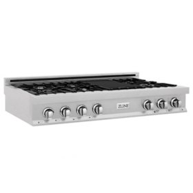 """ZLINE 48"""" Porcelain Rangetop in DuraSnow® Stainless Steel with 7 Gas Burners (RTS-48)"""