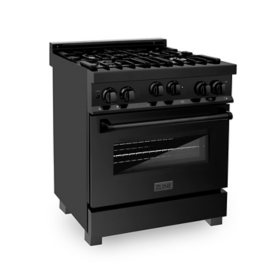"""ZLINE 30"""" 4.0 cu. ft. Range with Gas Stove and Gas Oven in Black Stainless Steel (RGB-30)"""
