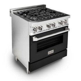 """ZLINE 30"""" 4.0 cu. ft. Dual Fuel Range with Gas Stove and Electric Oven in Stainless Steel and White Matte Door (RA-WM-30)"""