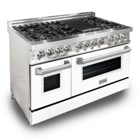 """ZLINE 48"""" 6.0 cu. ft. Dual Fuel Range with Gas Stove and Electric Oven in Stainless Steel and White Matte Door (RA-WM-48)"""