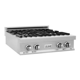 """ZLINE 30"""" Porcelain Rangetop in DuraSnow® Stainless Steel with 4 Gas Burners (RTS-30)"""
