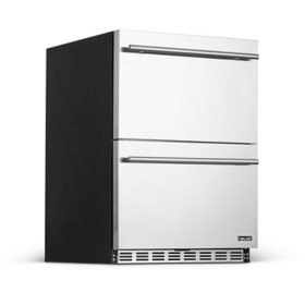 "NewAir 24"" Built-in 20-Bottle and 80-Can Dual Drawer Indoor/Outdoor Wine and Beverage Fridge"