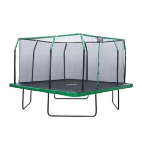 Upper Bounce 12' x 12' Square Trampoline Set with Premium Top-Ring Enclosure and Safety Pad