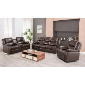 Lawrence 3-Piece Reclining Set - Sofa, Console Loveseat, Glider Recliner (Various Colors)