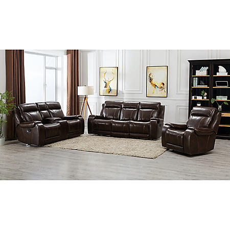 Grant 3-Piece Reclining Set - Sofa, Console Loveseat, Glider Recliner