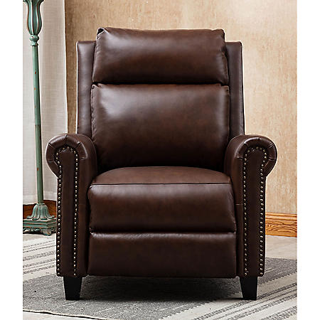 Colin Leather Touch Push Back Recliner With Nailhead Accents, Assorted Colors
