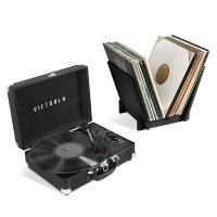 Victrola Journey+ Bluetooth Suitcase Record Player with Matching Record Stand (Choose Color)