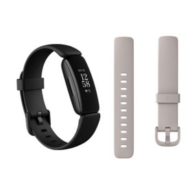 Fitbit Inspire 2 Bundle - Black Watch, Black Band (L/S, 1 Clasp), White Bonus Band (L/S, 2 clasps)
