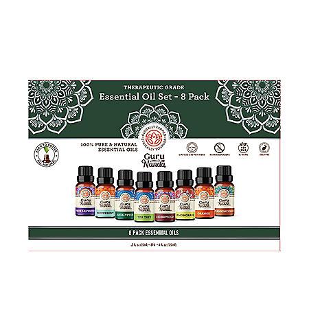 Guru Nanda 100% Pure Essential Oils, Therapeutic Grade Single Notes (15 ml, 8 pk.)