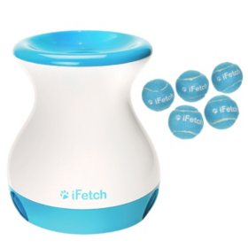 IFetch Frenzy Interactive Fetching Toy and 5-Pack Minature Tennis Balls Bundle