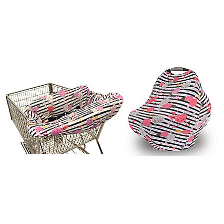 Itzy Ritzy 4-in-1 Car Seat Cover and Shopping Cart Cover Bundle (Choose Your Color)