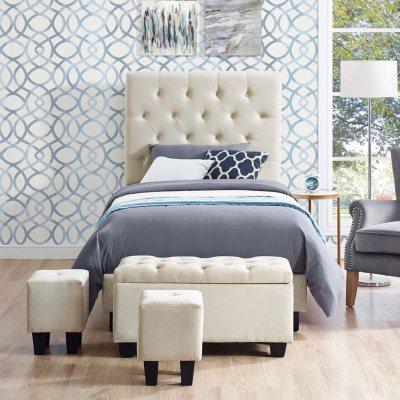 Faye Twin Upholstered Bed With Ottoman Set   Buckwheat