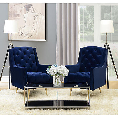 Stupendous Reese Button Tufted Accent Chair With Gold Legs Navy Blue Gmtry Best Dining Table And Chair Ideas Images Gmtryco