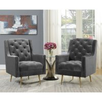 Society Den Reese Button-Tufted Accent Chair with Gold Legs Deals