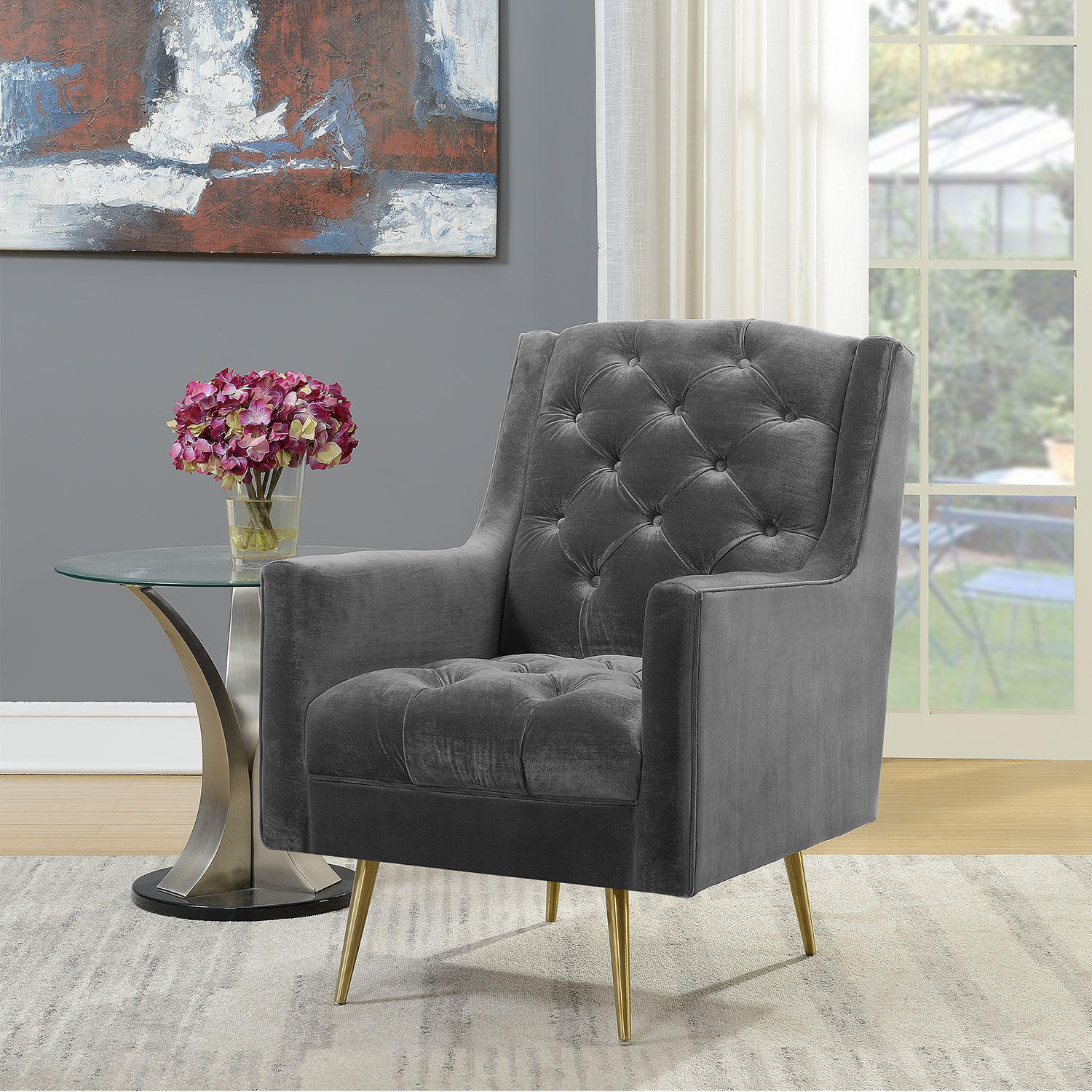 Reese Button-Tufted Accent Chair with Gold Legs