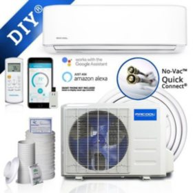 24,000 BTU Ductless Mini Split AC and Heat Pump with Wireless-Enabled Smart Controller