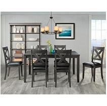 Society Den Alexa 7PC Standard Height Dining Set in Grey