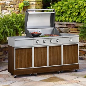 TYTUS Walnut Faux Wood Metal 4-Burner Grill Island