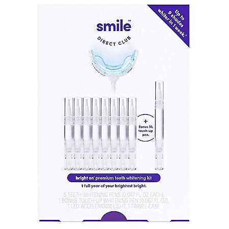 Smile Direct Club Bright On Premium Teeth Whitening Kit with 8 pens, LED light + Bonus Pen