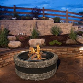 Sun Joe 35-in. Cast-Stone Fire Pit (Charcoal Gray)
