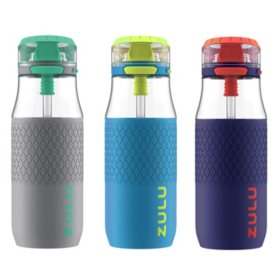 Zulu Kids 18 oz. Tag Water Bottle, 3 Pack (Assorted Colors)