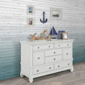 Evolur Cape May Double Dresser, Weathered White