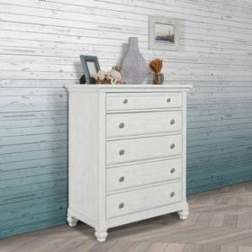 Evolur Cape May Tall Chest, Weathered White