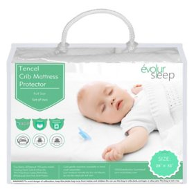 Evolur Full-Size Crib Tencel Waterproof Mattress Protector and Fitted Sheet, White