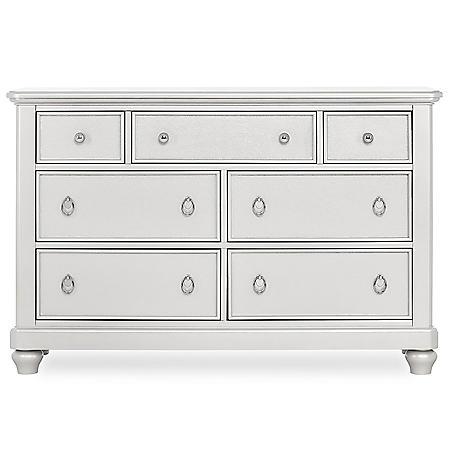 Evolur Signature Glam Double Dresser, Pearl Shimmer White