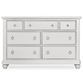 Evolur Signature Glam Double Dresser, Pearl Shimmer White