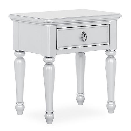 Evolur Signature Glam Night Stand, Pearl Shimmer White