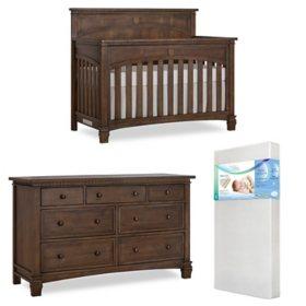 Evolur Santa Fe 5-in-1 Convertible Crib, Mattress and Dresser Set