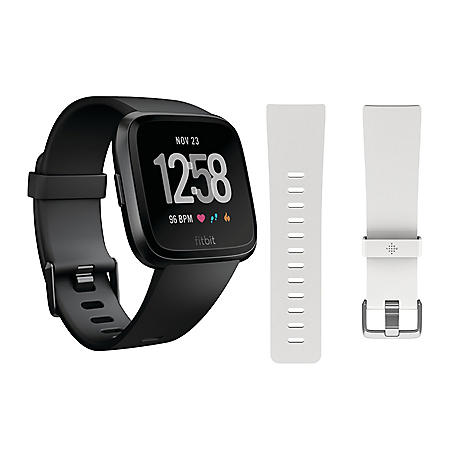 Fitbit Versa Smartwatch (Black) with Bonus White Accessory Band