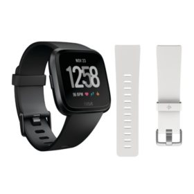 Fitbit Versa Smartwatch (Black) with Bonus White Accessory Band
