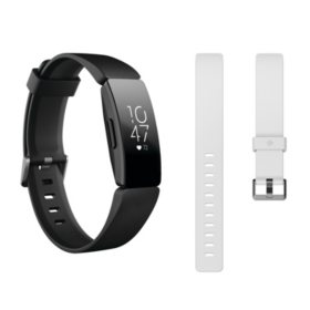 Fitbit Inspire HR Bundle (Black) with Bonus Accessory Band (White)
