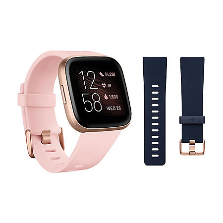 Fitbit Versa 2 Smartwatch Copper Rose (Petal) with Bonus Bands (Navy)