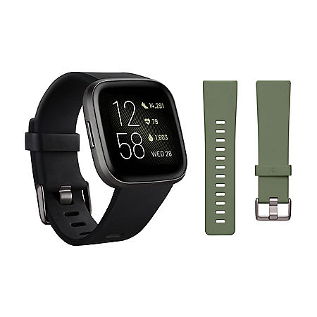 Fitbit Versa 2 Smartwatch Carbon (Black) with Bonus Bands (Olive)