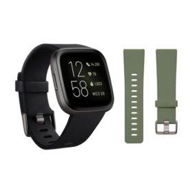 Fitbit Versa 2 Smartwatch Carbon (Black) with Bonus Bands (Olive)