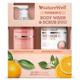 NatureWell Vitamin C Body Wash & Body Scrub Duo